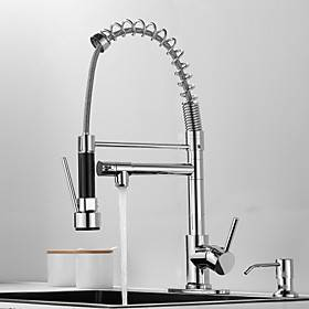 Kitchen faucet with Soap Dispenser- Single Handle Two Holes Electroplated Pull-out / shy;Pull-down / Standard Spout / Tall / High Arc Deck Mounted Contemporary