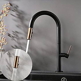 Kitchen Faucet Contemporary Single Handle One Hole Painted Finishes Pull-out High Arc Antique Kitchen Taps Adjustable to Cold and Hot Water