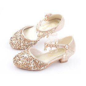 Girls' Heels Comfort Flower Girl Shoes Halloween PU Little Kids(4-7ys) Big Kids(7years ) Daily Home Walking Shoes Sequin Pink Gold Silver Summer / Rubber