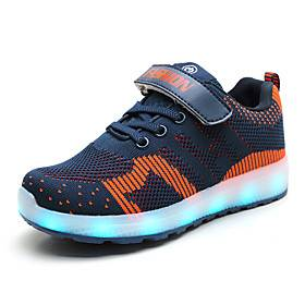 Boys' Girls' Sneakers LED LED Shoes USB Charging Knit Faux Leather LED Shoes Little Kids(4-7ys) Big Kids(7years ) Daily Home Walking Shoes LED Luminous Black B