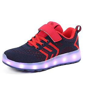 Boys' Girls' Sneakers LED LED Shoes USB Charging Knit Faux Leather LED Shoes Little Kids(4-7ys) Big Kids(7years ) Daily Home Walking Shoes LED Luminous Black R