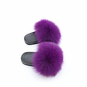 kids fur slides furry home slippers fluffy slides indoor summer flat sandals flip flops luxury girls shoes size 24-35,purple,12.5