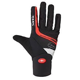 SANTIC Winter Bike Gloves / Cycling Gloves Mountain Bike MTB Thermal / Warm Windproof Breathable Anti-Slip Sports Gloves Terry Cloth Black for Adults' Outdoor