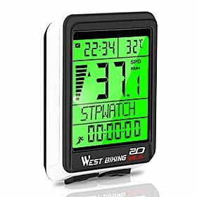 bicycle computer, 5 languages bike speedometer odometer wireless waterproof, multifunctional cycle computer lcd backlight, cycling accessories