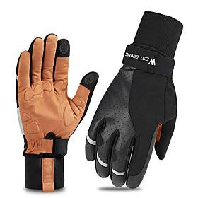 Winter Bike Gloves / Cycling Gloves Touch Gloves Reflective Breathable Wearable Skidproof Full Finger Gloves Sports Gloves Lycra Black / Yellow for Adults' Cyc