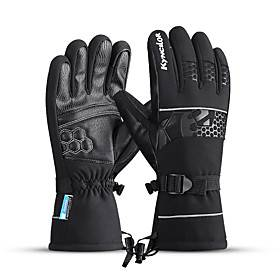 Winter Bike Gloves / Cycling Gloves Touch Gloves Anti-Slip Waterproof Warm Winter Sports Full Finger Gloves Sports Gloves Black for Adults' Outdoor Exercise Cy