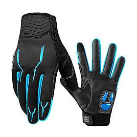 CoolChange Winter Touch Gloves Anti-Slip Reflective Waterproof Windproof Full Finger Gloves Sports Gloves Fleece Black / Red Black Black / Blue for Road Cyclin