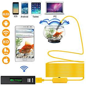 WIFI Endoscope Camera 1200P 1-10M Hard Wire Wireless 8mm 8 LED Camera For Android PC IOS Endoscope