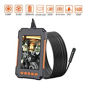 Endoscope Camera 1080P 8mm HD 4.3'' Screen Professional Dual Lens Inspection Camera Handheld Snake Camera with 8 LED IP68 Waterproof 10M