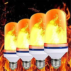 4pcs E27 LED Flame Light Bulbs 99 LEDs Flickering Blaze Lamp Light Bulb Flame Effect Fire Lamps Emulation Holiday Decoration Halloween Party Christmas Gift AC8