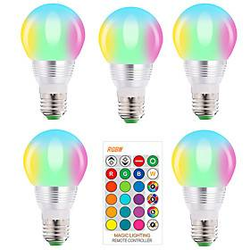 5pcs E27 E14 RGB Led Bulb 5W Dimmable 16 Color Changing Magic Bulb AC 220V 110V RGBW White IR Remote Night Light