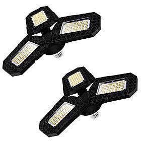 2pcs LED Garage Light LED Three-Leaf Deformable Ceiling Light For Home Warehouse Workshop 360 Degrees Folding Deformation Lamp Adjustable Multi-Position Panels