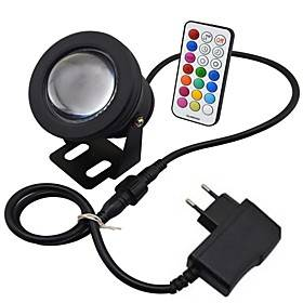 10W LED RGB LED Resistant Garden Landscape Fountain Pond Floodlight Outdoor Lights Lamp Bulb power adapter EU plug Memory Function Timing Setting(AC85-265V)