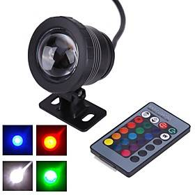 1pc 10 W Submersible Lights Underwater Lights Waterproof Remote Controlled Decorative RGB 12 V Outdoor Lighting Courtyard Garden 1 LED Beads