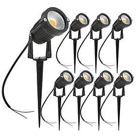 8PCS 7W LED Landscape Lights Garden Light Outdoor Lighting DC12V/24V Waterproof Pathway Lights Warm White Spotlights with Spike Stand (8 Pack)