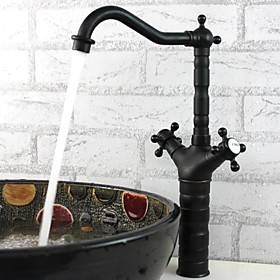 Bathroom Sink Faucet - FaucetSet Oil-rubbed Bronze Deck Mounted One Hole / Two Handles One HoleBath Taps