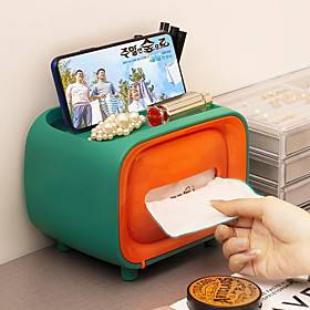 Cute Mini Radio Shape Tissue Holder Storage Box Container Home Office Restaurant Desktop Decor