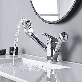 Bathroom Sink Faucet - Rotatable / Pull out / Pullout Spray Electroplated Centerset Single Handle One HoleBath Taps
