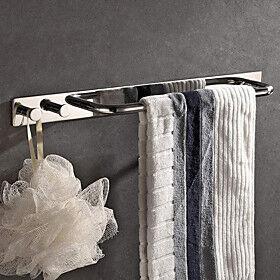 Kitchen  Bathroom Multifunctional Hardware Accessory include Towel Bar Robe Hook Bathroom Shelf 2 Installation Type Self-adhesive / Wall Mounted 304 Stainless