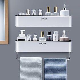 bathroom shelf shower caddy organizer wall mount shampoo rack with towel bar no drilling kitchen storage bathroom accessories