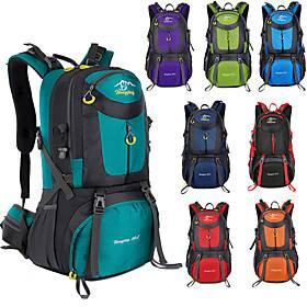 60 L Hiking Backpack Rucksack Breathable Straps - Lightweight Breathable Rain Waterproof Wear Resistance Outdoor Hunting Hiking Climbing Nylon Lake Green Black