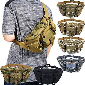 Hiking Waist Bag Military Tactical Backpack Camouflage Expandable Multifunctional Rain Waterproof Wear Resistance Multi Pocket Outdoor Hiking Camping Oxford Bl