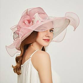 Organza Headwear with Flower / Ruffle 1 Piece Wedding / Sports  Outdoor / Tea Party Headpiece