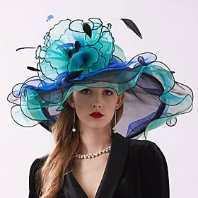 Organza Headwear with Flower / Ruffle 1 Piece Wedding / Sports  Outdoor / Tea Party Headpiece