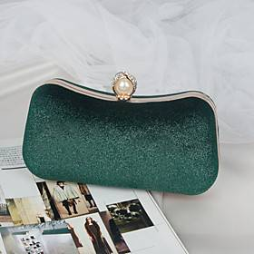 Women's Bags Polyester Alloy Evening Bag Pearls Crystals Solid Color Fashion Wedding Bags Wedding Party Black Blue Almond Green