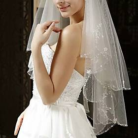 Two-tier Classic Style / Lace Wedding Veil Elbow Veils with Solid / Pattern 59.06 in (150cm) POLY / Lace