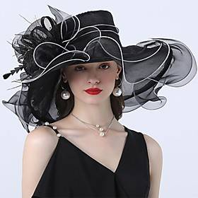 Vintage Style Fashion Tulle / Organza Hats / Headwear with Bowknot / Flower / Trim 1 Piece Wedding / Outdoor Headpiece