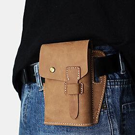 men genuine leather retro outdoor sport 6.3 inch phone bag waist bag with belt loop