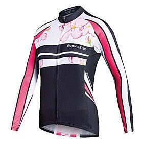 Realtoo Women's Long Sleeve Cycling Jersey Winter Bike Jersey Top Mountain Bike MTB Road Bike Cycling Sports Clothing Apparel / Stretchy