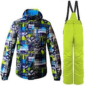 Men's Ski Jacket with Pants Ski / Snowboard Hiking Multisport Windproof Warm Ventilation Polyester Clothing Suit Ski Wear / Winter