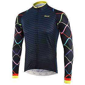 Arsuxeo Men's Long Sleeve Cycling Jersey Winter White Royal Blue Bike Top Mountain Bike MTB Road Bike Cycling Back Pocket Sweat-wicking Sports Clothing Apparel