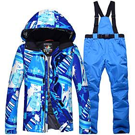 Arctic QUEEN Men's Ski Jacket with Pants Camping / Hiking Winter Sports Waterproof Windproof Warm Polyester Jacket Pants / Trousers Clothing Suit Ski Wear