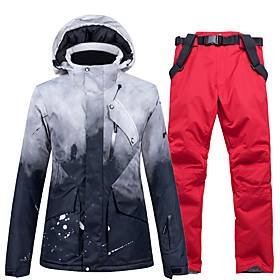 Men's Skiing Snowsports Snowboarding Thermal / Warm Windproof Waterproof Zipper Cotton Polyester Pants / Trousers Clothing Suit Ski Wear / 2 Piece / Long Sleev