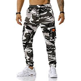 Men's Sporty Pants Active Loose Sports Outdoor Casual Daily Wear Tactical Cargo Pants Camouflage Full Length Blue Green Light gray / Spring / Fall