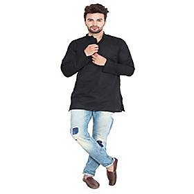 cotton men's short kurta shirt india clothes (black, xxxl)