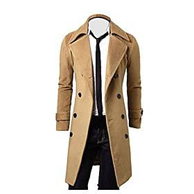 men's winter clothes, boomboom winter men slim fit trench double breasted long coat (xxl, khaki)