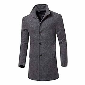 mens trench coat men casual jacket warm winter long outwear button smart overcoat clothes(xl, gray)
