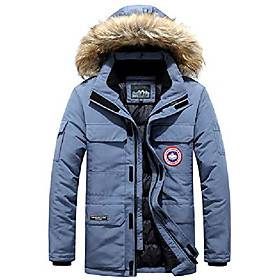 mens winter coats fur hooded outwear casual outdoor jacket thicken warm clothes windproof parka (blue,xl)