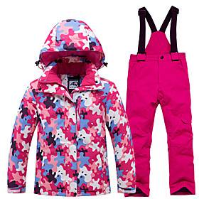 Girls' Ski Jacket with Pants Ski / Snowboard Winter Sports Thermal Warm Waterproof Windproof Polyester Clothing Suit Ski Wear / Long Sleeve / Camo / Camouflage