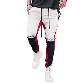 Men's Sports  Outdoors Sporty Breathable Fitness Gym Jogger Pants Pants Letter Full Length Sporty Patchwork Drawstring White Red Gray
