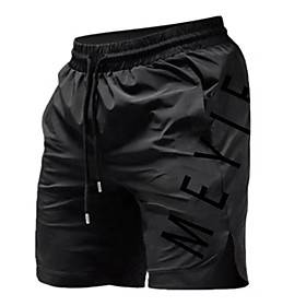 Men's Sports  Outdoors Sporty Breathable Fitness Gym Active Shorts Pants Letter Short Sporty Stripe Drawstring White Black Khaki