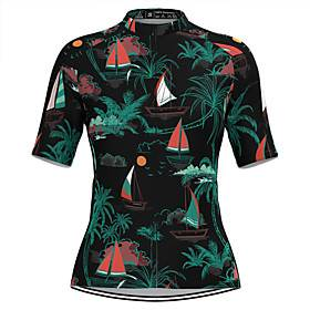 Women's Short Sleeve Cycling Jersey Black Tropical Flowers Bike Top Mountain Bike MTB Road Bike Cycling Breathable Quick Dry Sports Clothing Apparel / Stretchy