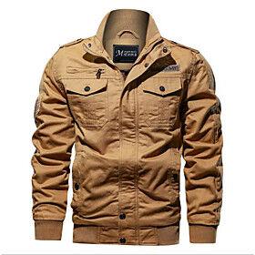 Men's Winter Jacket Solid Color Sports Outdoor Long Sleeve ArmyGreen Black khaki M L XL XXL
