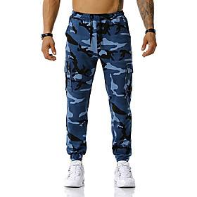 Men's Cargo Sports Outdoor Sports Pants Sweatpants Pants Camouflage Full Length White Blue Red Army Green Orange