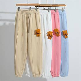 Men's Casual Sweatpants Outdoor Sports Casual Daily Pants Sweatpants Pants Solid Colored Full Length Pocket Bear White Blue Blushing Pink Khaki