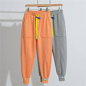 Men's Casual Sweatpants Outdoor Sports Casual Daily Pants Sweatpants Pants Solid Colored Full Length Sporty Pocket Orange Gray